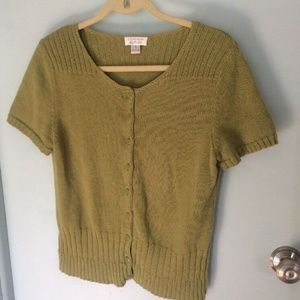 Christopher & Banks Green Short Sleeve Cardigan S